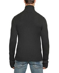 Dolce & Gabbana Black Ribbed Knit Wool Zip Up Cardigan for men