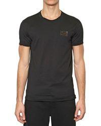 Dolce & Gabbana Black Round Neck Logo Plaque Jersey T-shirt for men