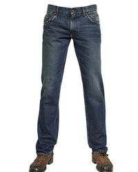 Dolce & Gabbana Blue Distressed Denim 14 Gold Jeans for men