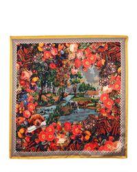 Dolce & Gabbana Red Printed Silk Satin Scarf