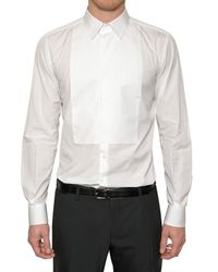 Dolce & Gabbana White Gold Fit Poplin Plastron Shirt for men