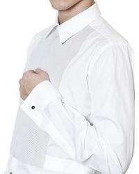 Dolce & Gabbana White Poplin Plastron Gold Fit Shirt for men