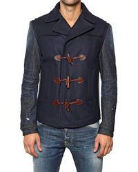 DSquared² Blue Felt Wool Denim Duffle Casual Jacket for men