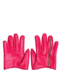 DSquared² Purple Leather Zipped Half Gloves