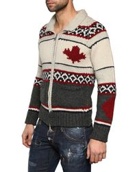 DSquared² Multicolor Chunky Wool Mix Knit Zip Up Cardigan for men