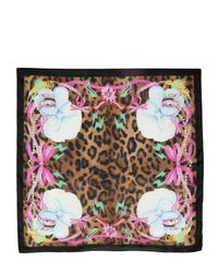 DSquared² Pink Satin Silk Dogs Printed Scarf