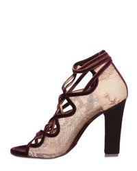 Ferragamo Metallic 110mm Tokara Lace Velvet Open Toe Pumps