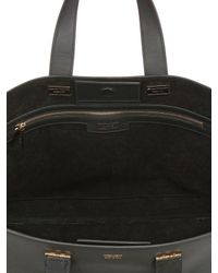Giorgio Armani Black Medium Shopping Suede Leather Tote