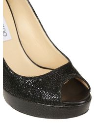 Jimmy Choo Black 120mm Crown Glitter Open Toe Pumps