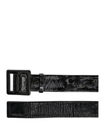 Lanvin Black 50mm Covered Buckle Patent Leather Belt