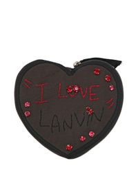 Lanvin Brown Heart Case with Alber Embroidery Wallet