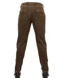 Les Hommes Green Slim Fit Moleskin Trousers for men