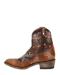 Mexicana Brown 40mm Floral Embroidered Leather Boots