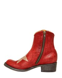 Mexicana Red Vintage Leather Star Low Boots