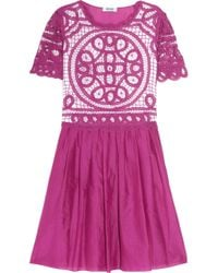 Boutique Moschino - Purple Lace-paneled Cotton and Silk-blend Dress - Lyst