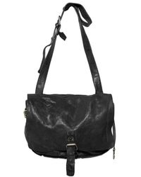 Officine Creative Black Vintage Leather Messenger Bag for men