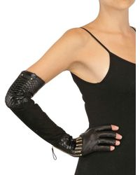 Sergio Rossi Black Stretch Leather Long Gloves