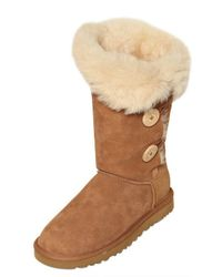 UGG Brown Bailey Triple Button Shearling Boots