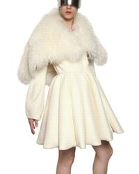 Alexander McQueen | White Shearling and Floral Appliqué Brocade Coat | Lyst