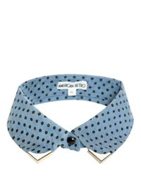 American Retro Blue Polka Dot Print Silver Detail Collar