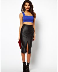 ASOS Collection | Black Pencil Skirt in Wet Look | Lyst