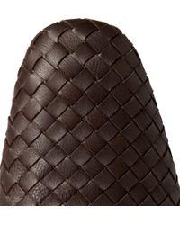 Bottega Veneta | Brown Intrecciato Leather Slippers for Men | Lyst