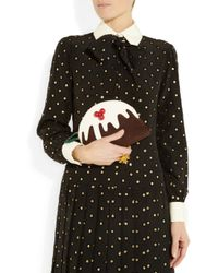 Charlotte Olympia Brown Christmas Pudding Suede and Patent Leather Clutch