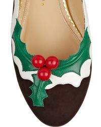 Charlotte Olympia Metallic Holly Suede and Patent Leather Flats