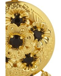 Dolce & Gabbana Metallic Goldtone Swarovski Crystal Locket Clip Earrings