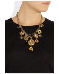 Dolce & Gabbana - Metallic Gold Tone Swarovski Crystal Locket Necklace - Lyst