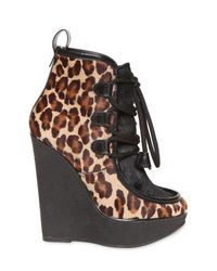 DSquared² Brown 140mm Leopard Print Pony Skin Wedges