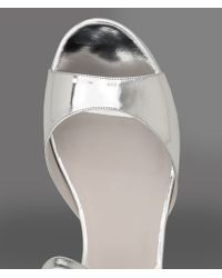 Emporio Armani Metallic Wedge in Lamé Effect Suede with Ankle Strap