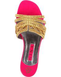 Gina Metallic Loren Swarovskiembellished Sandals