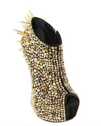 Giuseppe Zanotti Black 150mm Suede Spiked Sculptural Wedges
