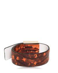 KENZO - Orange Tejus Printed Leather Bracelet - Lyst