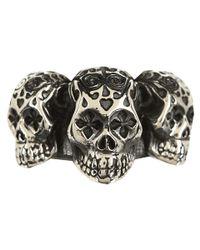 King Baby Studio - Metallic Day Of The Dead Triple Skull Ring for Men - Lyst