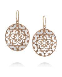 Laurent Gandini Metallic Orecchini Bisanzio 9karat Rose Gold Rock Crystal Earrings