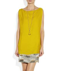 Maiyet Yellow Handpainted and Embroidered Silksateen Dress