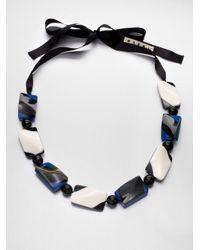 Marni Black Horn Resin Beaded Necklace