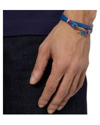 Miansai Blue Foksol Leather and Metal Hook Bracelet for men