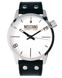 Moschino Black Leather Strap Watch for men