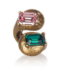 Oscar de la Renta Metallic 22karat Gold Plated Glass Ring