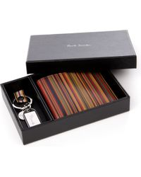 Paul Smith Multicolor Vintage Multistriped Wallet and Key Ring Set for men