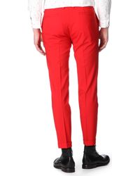 Paul Smith Red Cropped Slimfit Trousers for men
