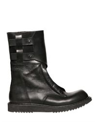 Rick Owens Black Mock Zipped Leather Compact Boots for men