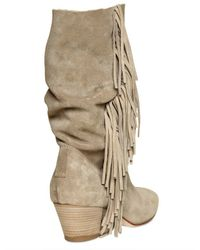 Strategia Natural Suede Fringed Boots
