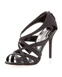 Badgley Mischka | Black Glitter Sandal | Lyst