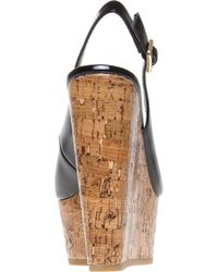 Carvela Kurt Geiger Black Kabbalah Cork and Patent Leather Wedges