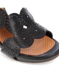 Chie Mihara Black Cristi Scalloped Leather Sandals