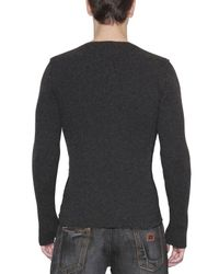 Dolce & Gabbana Black Wool Ribbed Knit Serafino Sweater for men